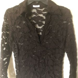 Cache Brown Lace Blouse